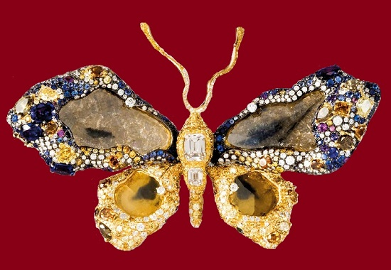 Stunning Butterfly brooch set with 2,138 gems, including large diamonds in the wings, faceted on one side only
