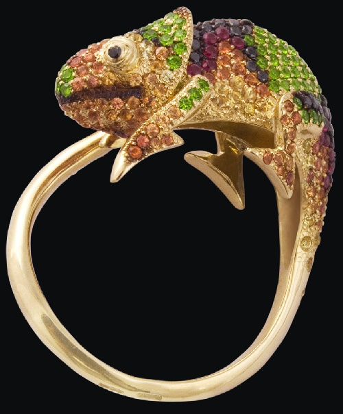 'Chameleon' Ring. Stone - Sapphire. Yellow gold (585), diamonds, rubies, demantoids, yellow and orange sapphires