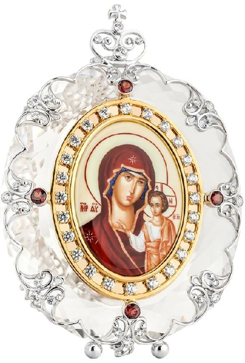 Crystal icon of God Mother of Kazan