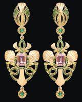 Earrings of Morganite, Emerald, Sapphire, tsavorite