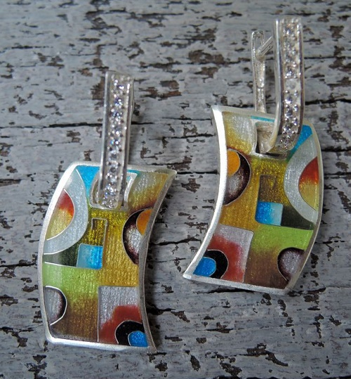 Earrings with zirconia 'Kandinsky'. Jeweler Nino (nimijewellery)