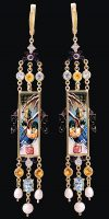 Exquisite earrings. Topaz, Citrine, Sapphire, Diamond, Mother of Pearl, Pearl