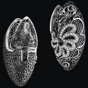 Faberge earrings. White gold, diamonds