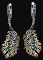 Feather earrings. Colored sapphires, gold, diamonds