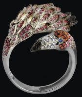 'Flamingo' Ring. White gold (585), colored sapphires