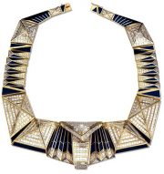 Gizehsky sphinx necklace. 1996. White and yellow gold, diamonds, enamel. 'Urals Jewellers', Yekaterinburg. Author E. Opaleva