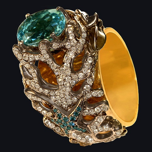 Gold ring (585), tourmaline, diamonds