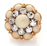 Golden ivory floral cluster cocktail ring