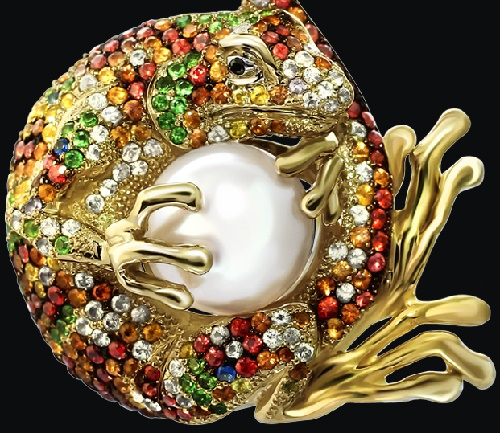 'Iguana' Suspension. Yellow gold (585), colored sapphires, rubies and tsavorite, saltwater pearls