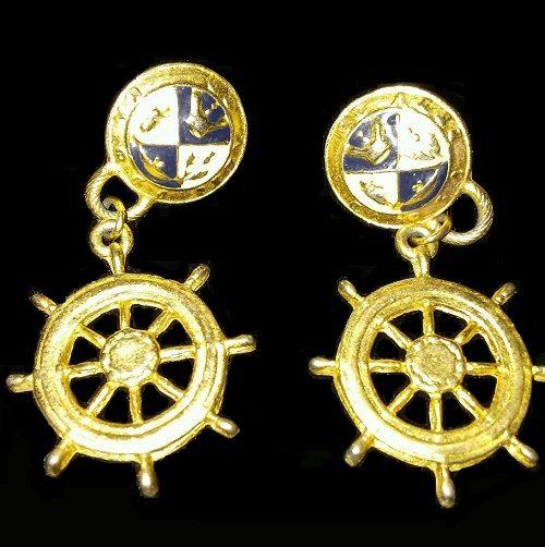 Marine steering wheel earrings
