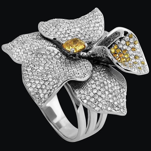 'Orchid' Ring. White gold (585), white and yellow diamonds
