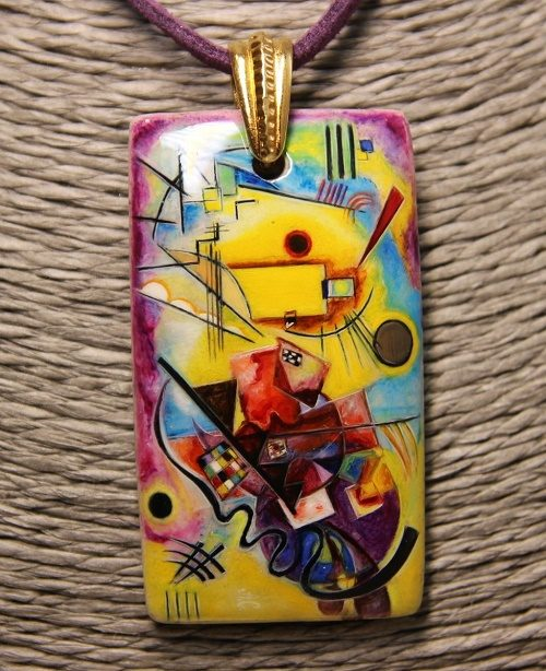 Pendant based on a mysterious painting of the famous artist - abstractionist Wassily Kandinsky 'yellow-red-blue'. Jeweler Svetlana Aust, Russia