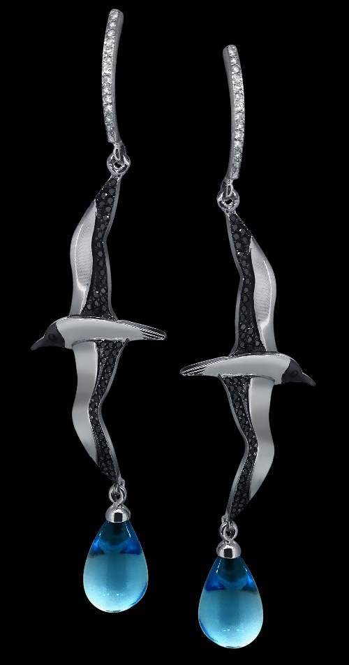 'Seagull' Earrings. White gold (585), diamonds, topaz