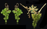 Set 'Grapes'. Stone - Peridot. Yellow gold (585), chrysolite, emeralds and yellow sapphires, demantoids