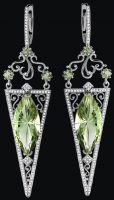'Sharon Stone' Earrings. Set. White gold (585), green amethyst, white diamonds