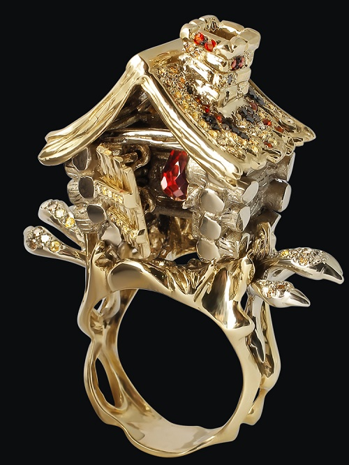 Teremok ring. Yellow gold (585), colored sapphires