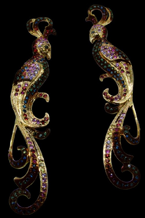 'The Firebird' Earrings. Yellow gold (585), colored sapphires
