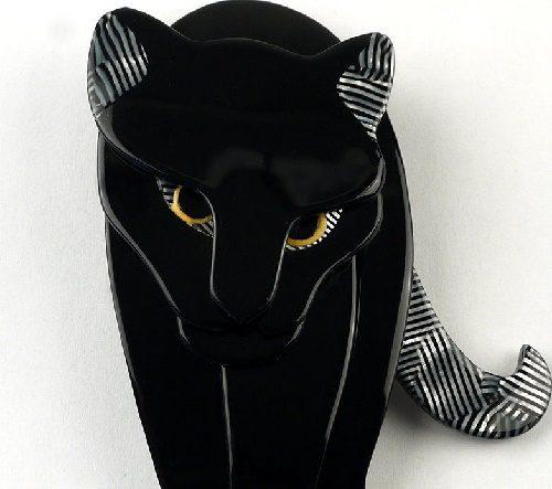 Walking jaguar brooch