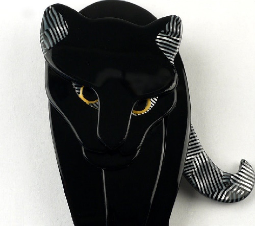 Walking jaguar brooch