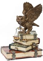 Wise owl sculptural composition