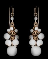 Yellow Gold Over White Beads Long Layered Drop Dangle Earrings