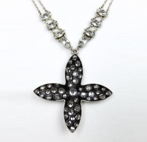 large cross long chain of silver-tone crystals