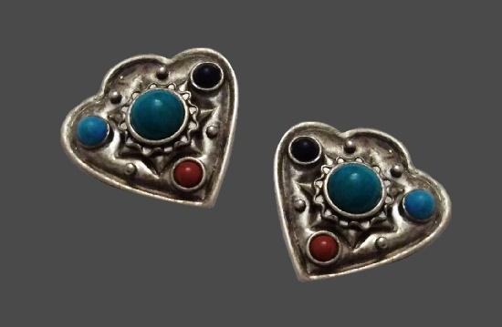 Antique clips. Silver tone, faux gems. 1950s