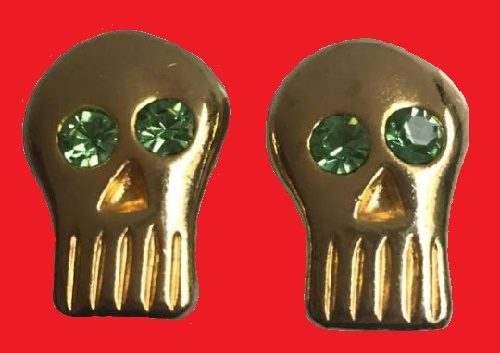 1989 Surreal Gold Tone and Green Crystal Skull Earrings