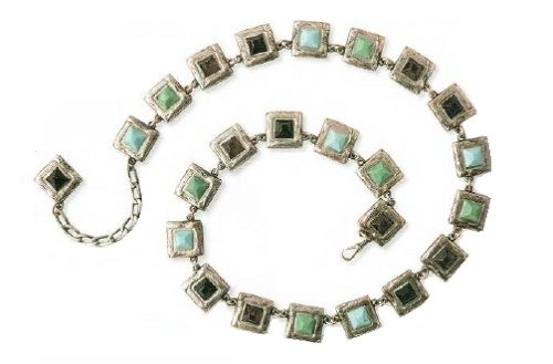Belt. Silver, turquoise, green and black enamels. 1980