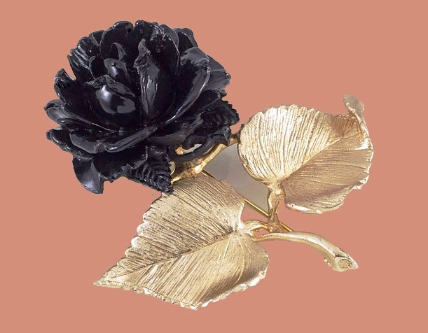 Black rose brooch. 1960s. Gold tone metal, enamel