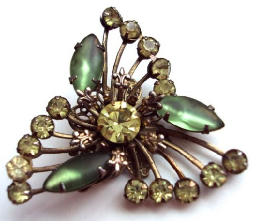 Fleur De Lis green rhinestone brooch