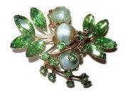 Green rhinestones, mint green crystal beads, gold metal flower brooch