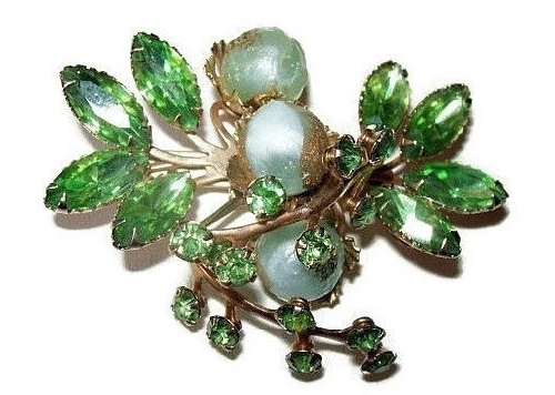 Green rhinestones, mint green crystal beads, gold metal flower brooch