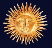 Marked 'Accessocraft N.Y.C.' Sun brooch, 1950s. 5,1 cm