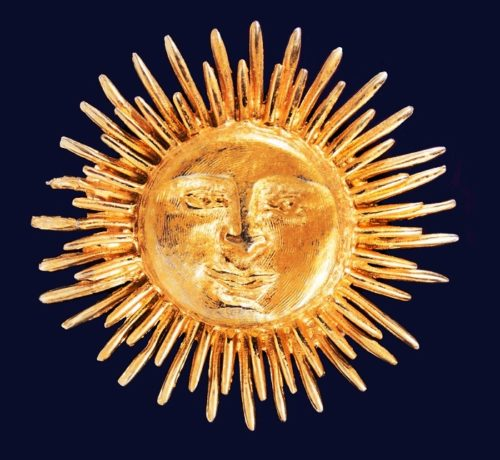 Marked 'Accessocraft N.Y.C.' Sun brooch, 1950s. 5,1 cm