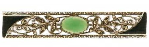 Silver, enamel, emerald cabochon. The late 1920s brooch