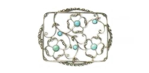 The end of the 1920's Brooch. Silver, rock crystal, turquoise cabochons