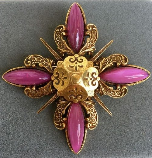 Vintage brooch-pendant Accessocraft NYC, Maltese cross. 1960's. Labeled