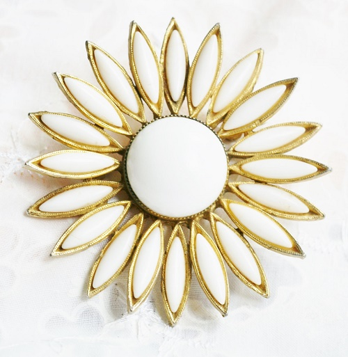White Milk Glass and Gold Tone Large Flower Brooch Pin