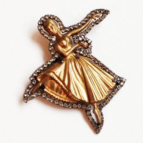 Ballerina brooch. Jewelry alloy, rhinestones