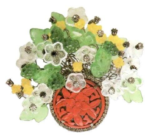 Bouquet brooch. Transparent cast glass (leaves and flowers of rock crystal, incrustation in medallion, 1980)