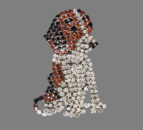 Dog brooch. Jewelry alloy, hematite, Swarovski crystals. 5.5 cm