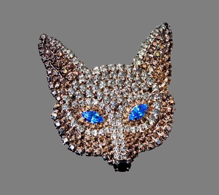 Fox mask brooch. Jewelry alloy, hematite, Swarovski crystals. 5 cm