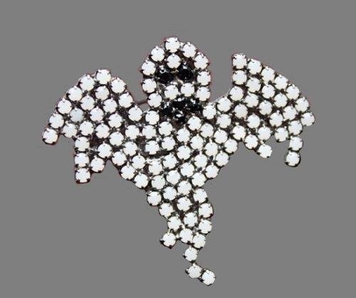Ghost vintage brooch. Jewelry alloy, hematite, Swarovski crystals. 4 cm