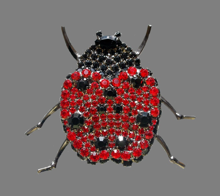 Ladybug brooch. Swarovski crystals, hematite, jewelry alloy. 5.5 cm