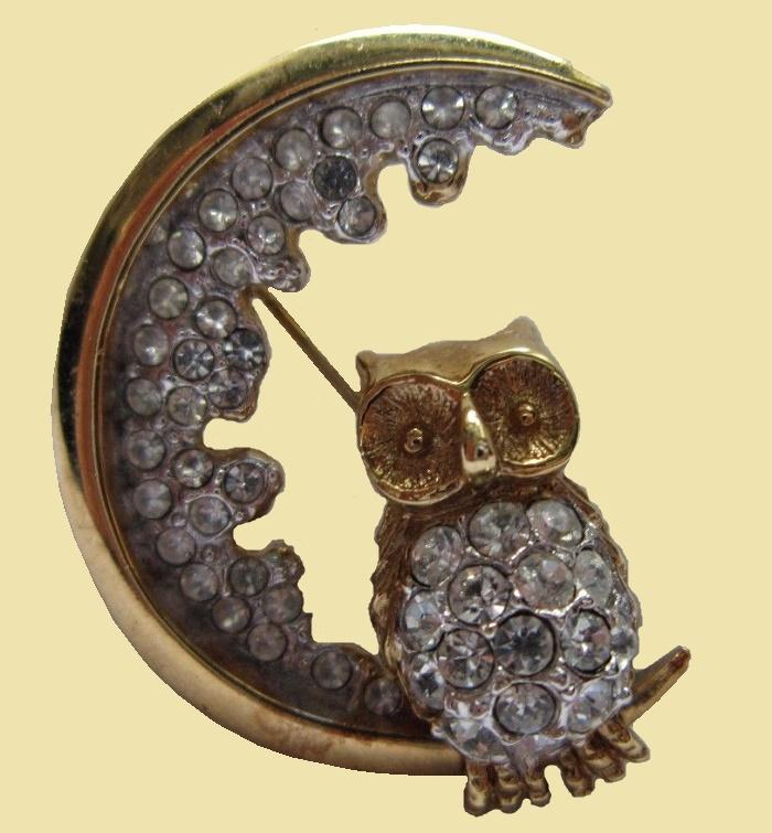 Owl on the Moon brooch
