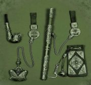 A male set 'Nomad' - a Buryat knife with a suspension, a tube, a pouch, a flint. Silver, coral, malachite, mahogany, leather, hardened steel, corals, chasing, punching, forging
