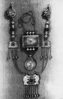 Ancient women's set of Buryat women - Hiihe, Guu (amulet box), pendant 'Lion'. Silver, corral, bells