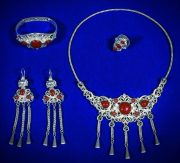 Female set 'Rich Bride'. Silver, coral, bells