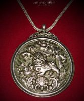 Pendant Wall Pano 'Lion Guardian'. Silver, chasing